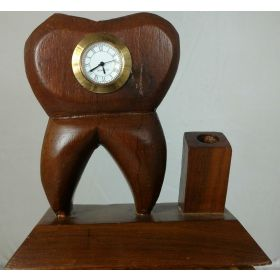 Tooth Shaped Dental Table Wooden Clock